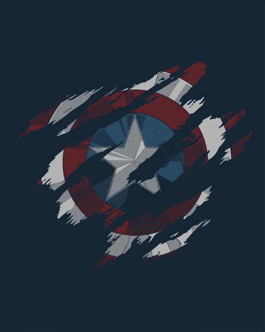 Shop Ripped Captain America Half Sleeve T-Shirt (AVL)