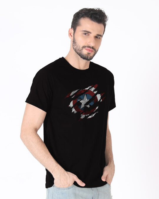 Shop Ripped Captain America Half Sleeve T-Shirt (AVL)-Full
