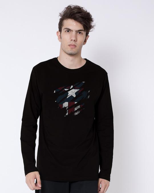 Shop Ripped Captain Full Sleeve T-Shirt (AVL)-Front