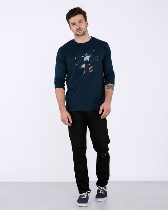 Shop Ripped Captain Full Sleeve T-Shirt (AVL)