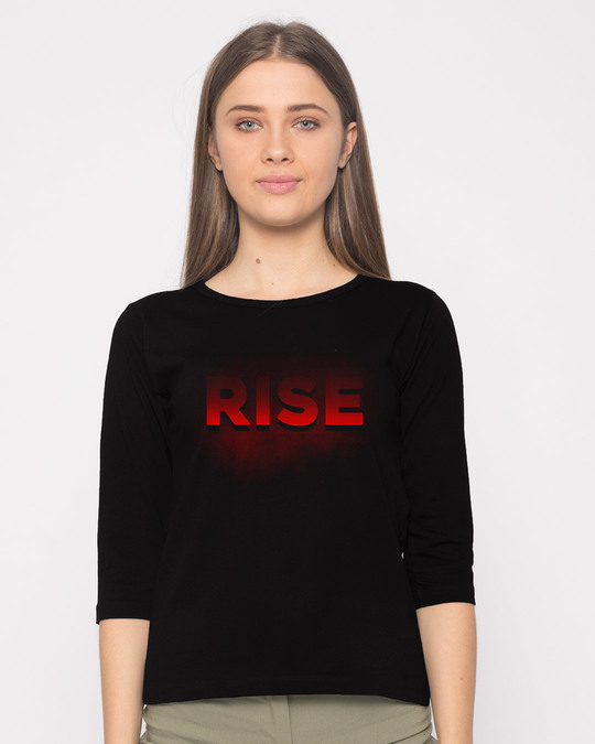 Shop Rise Round Neck 3/4th Sleeve T-Shirt-Front
