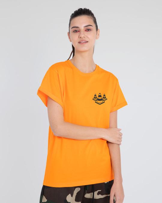 Shop Road Cone Perspective Boyfriend T-Shirt-Back