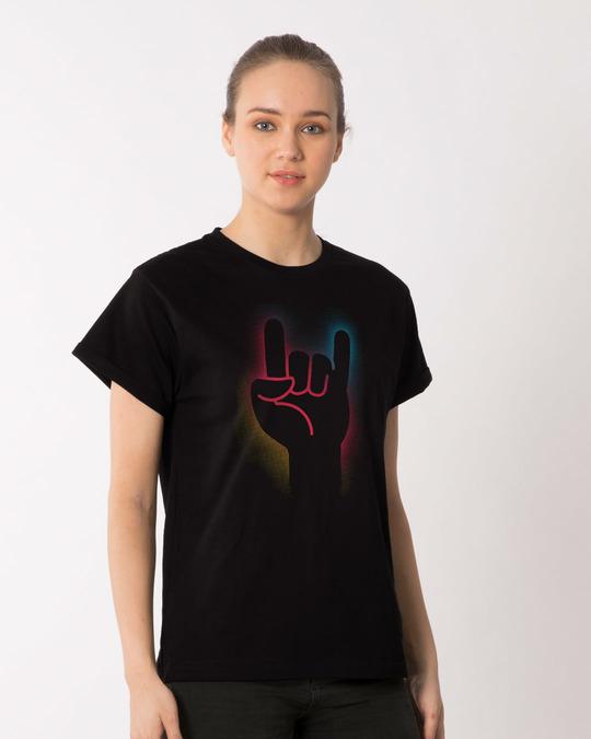Shop Rock The Devil's Horns Boyfriend T-Shirt-Back