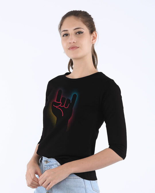 Shop Rock The Devil's Horns Round Neck 3/4th Sleeve T-Shirt-Back
