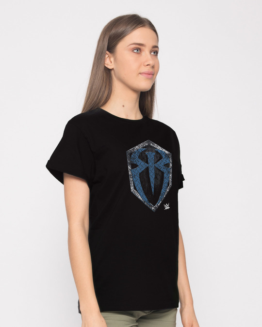 Shop Roman Rigns Shield Boyfriend T-Shirt (WWEL)-Back
