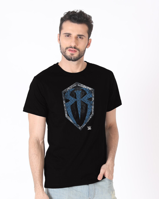 Shop Roman Rigns Shield Half Sleeve T-Shirt (WWEL)-Full