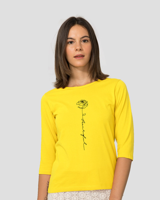 Shop Rose Beautiful Round Neck 3/4 Sleeve T-Shirts Pineapple Yellow -Front