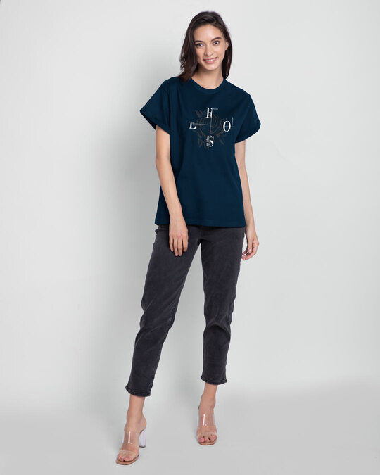 Shop Rose Compass Boyfriend T-Shirt-Design