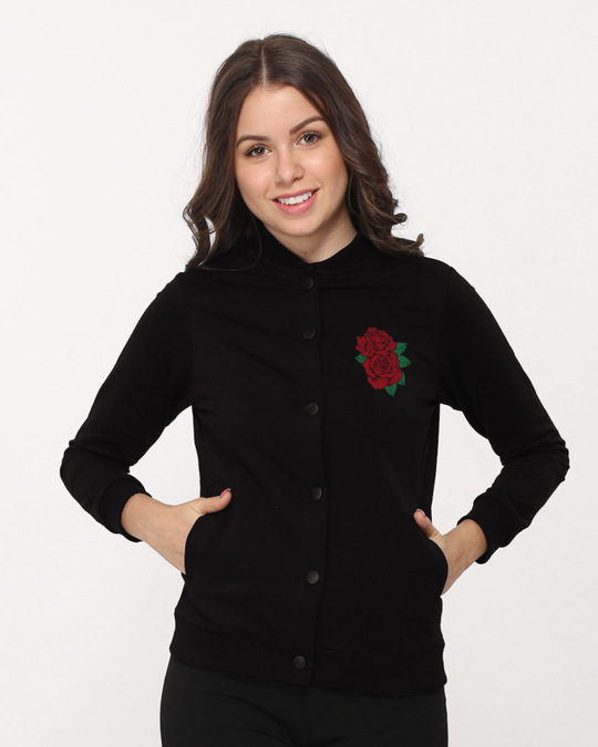 f14a6b09b Roses Buttoned Bomber Jacket - Roses Womens Bomber Jackets@Best ...