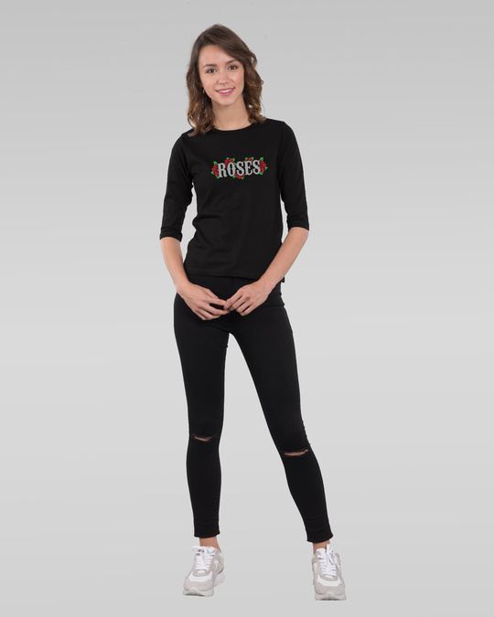 Shop Roses lady Round Neck 3/4th Sleeve T-Shirt-Full