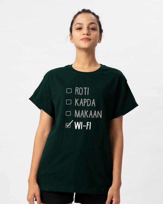 Shop Roti Kapda Makaan Boyfriend T-Shirt-Front