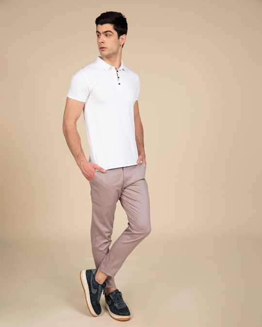 Shop Rouge Pink Slim Fit Cotton Chino Pants