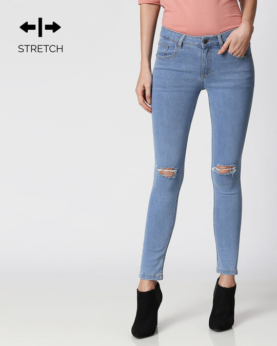 Shop Royal Blue Distressed Mid Rise Stretchable Women's Jeans-Front
