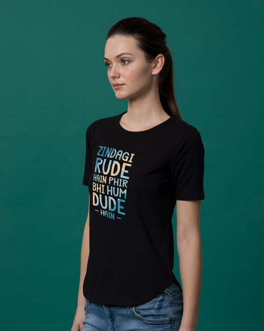 Shop Rude Dude Basic Round Hem T-Shirt-Back