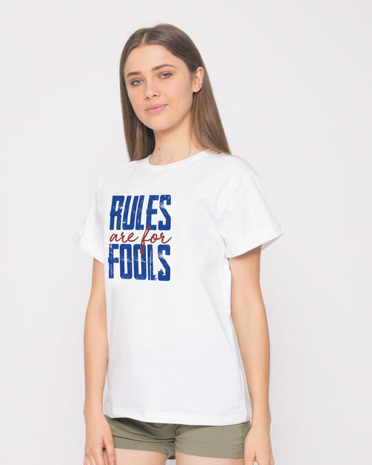 Shop Rules Are For Fools Boyfriend T-Shirt-Back