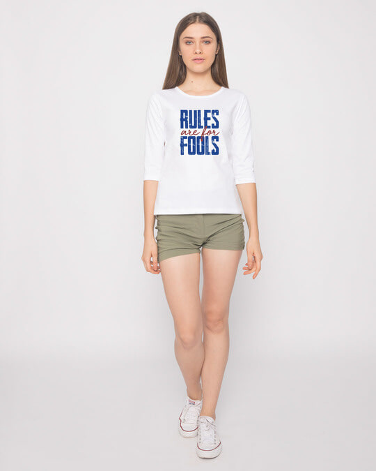 Shop Rules Are For Fools Round Neck 3/4th Sleeve T-Shirt