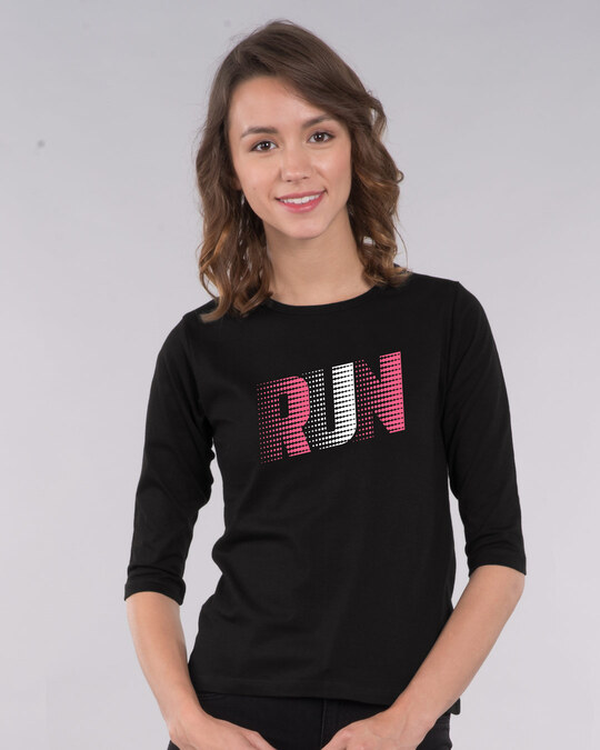 Shop Run Speed Round Neck 3/4th Sleeve T-Shirt-Front