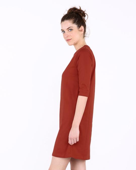 Shop Rust Orange 3/4th Sleeve T-Shirt Dress-Back