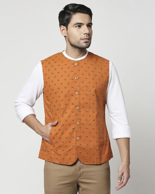 Shop Rust Orange Men's Printed Waist Coat Waist Coat-Back