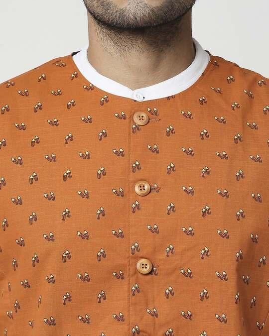 Shop Rust Orange Men's Printed Waist Coat Waist Coat