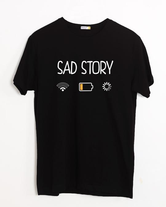 Shop Sad Story Half Sleeve T-Shirt-Front