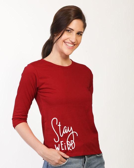Shop Sada Ajeeb Raho Round Neck 3/4th Sleeve T-Shirt-Back