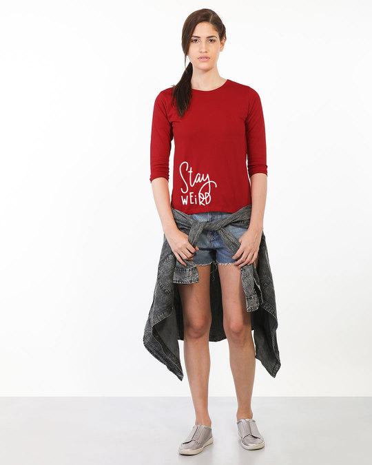 Shop Sada Ajeeb Raho Round Neck 3/4th Sleeve T-Shirt