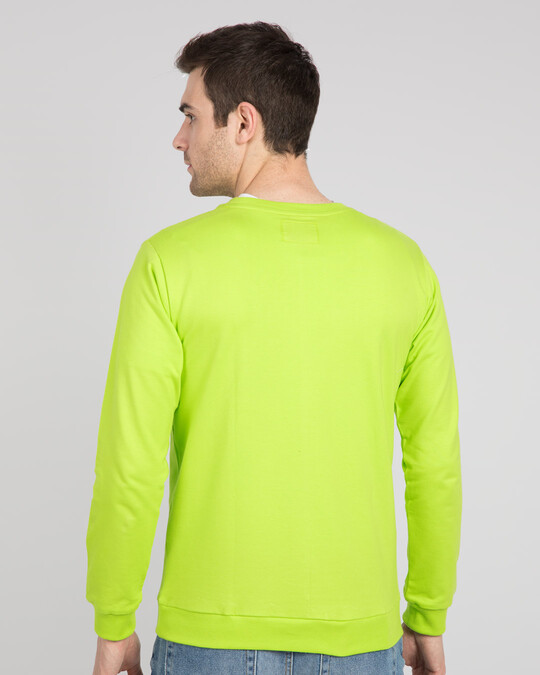 Shop Sadda Pain Fleece Sweater Neon Green -Back