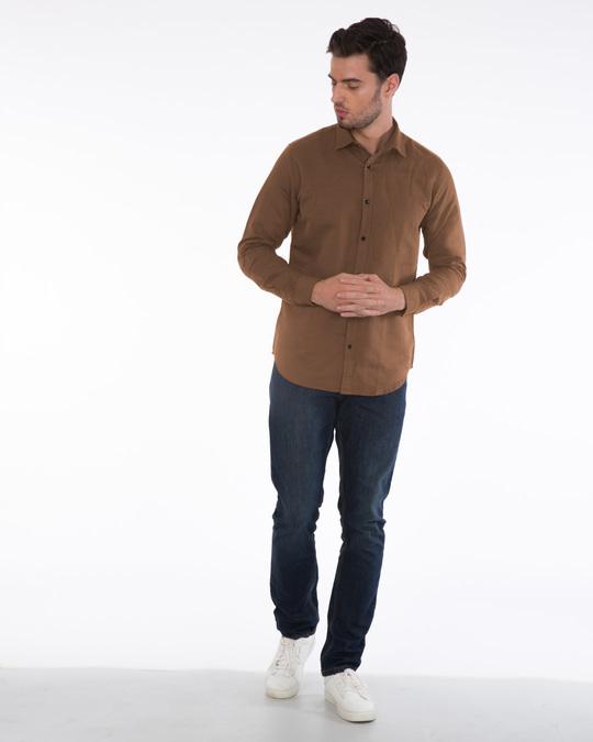 Shop Saddle Brown Slim Fit Shirt-Full