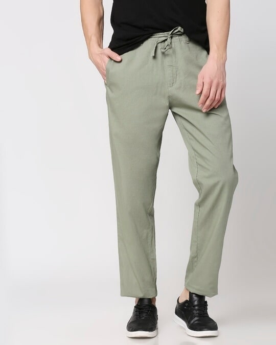 Shop Sage Green Casual Cotton Pants-Back