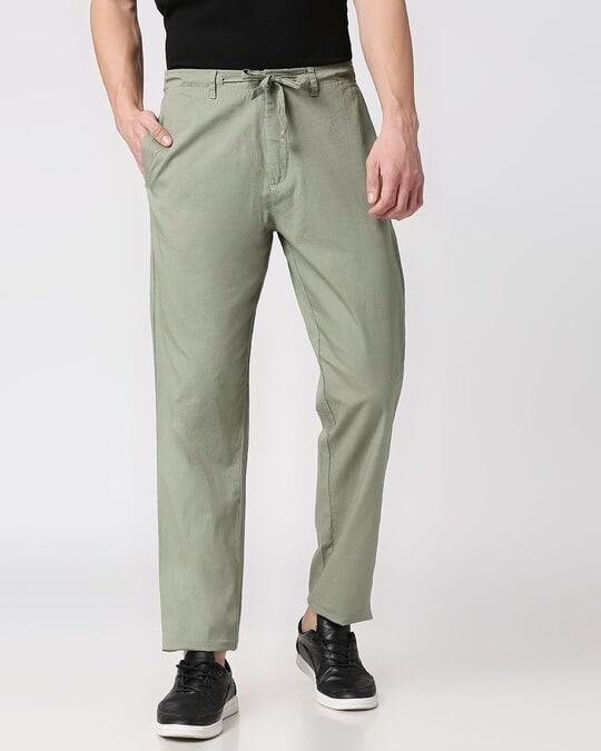 Shop Sage Green Casual Cotton Pants-Design