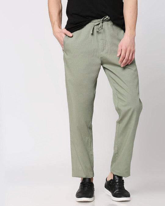 Shop Sage Green Casual Cotton Trouser-Back