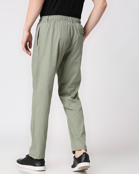 Shop Sage Green Casual Cotton Trouser-Full