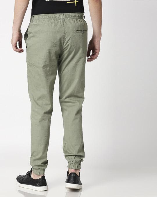 Shop Sage Green Cotton Jogger Pants-Full