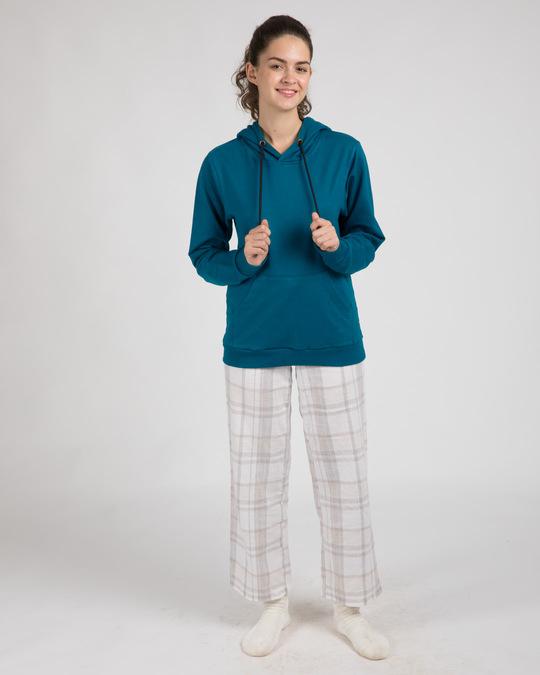 Shop Sailor Blue New Fleece Hoodies-Full