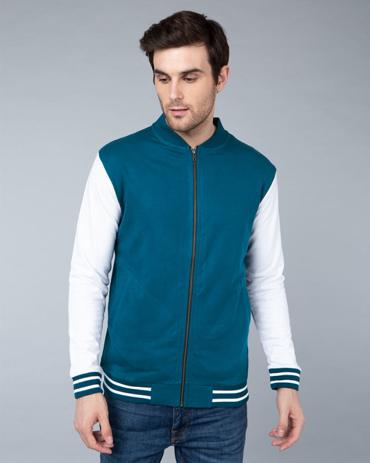 Shop Sailor Blue Varsity Bomber Jacket-Back