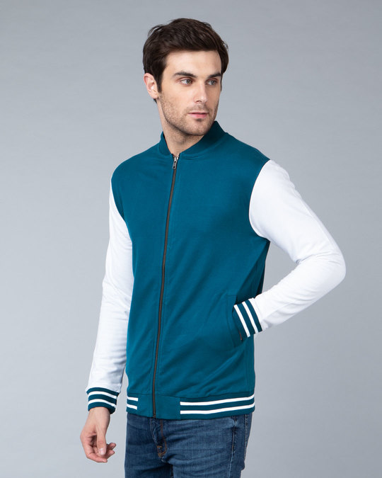 Shop Sailor Blue Varsity Bomber Jacket-Design