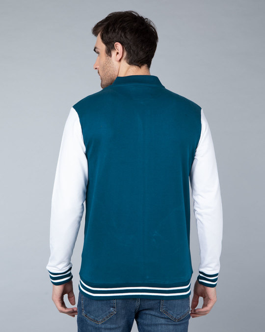 Shop Sailor Blue Varsity Bomber Jacket-Full