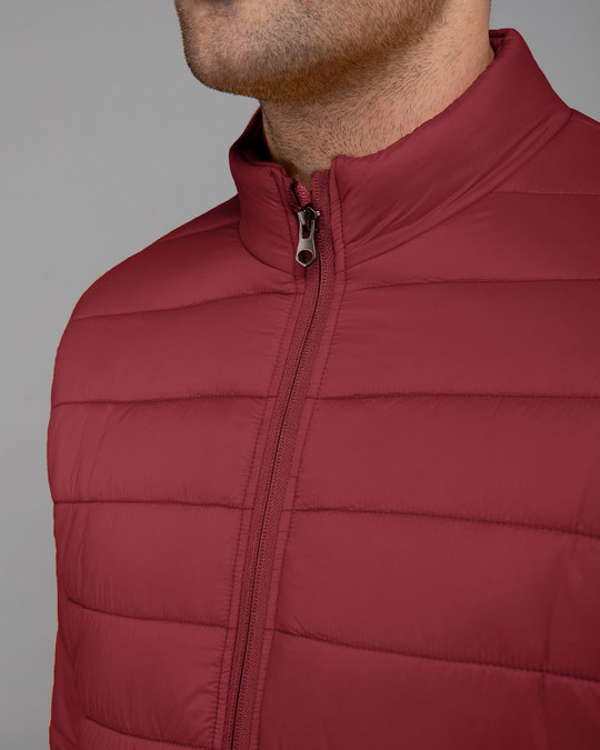 Shop Sangria Red Plain Puffer Jacket