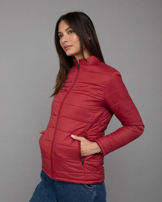 Shop Sangria Red Plain Puffer Jacket-Back
