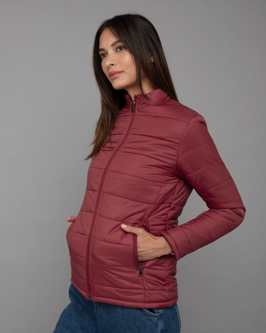 Shop Sangria Red Plain Puffer Jacket-Back