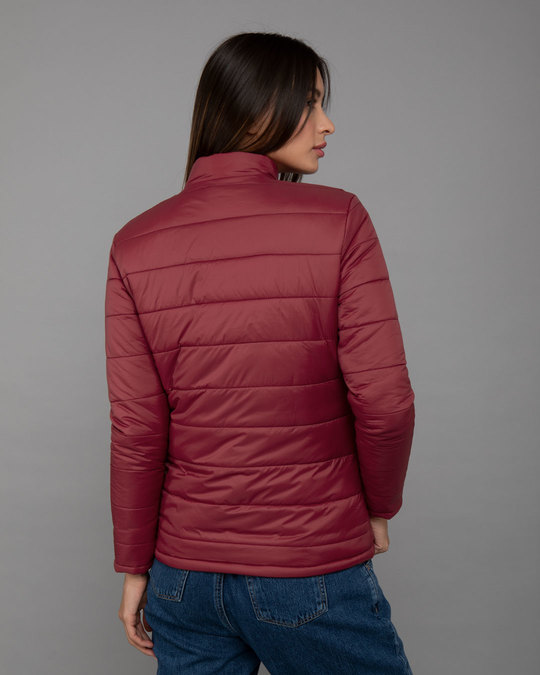 Shop Sangria Red Plain Puffer Jacket-Full