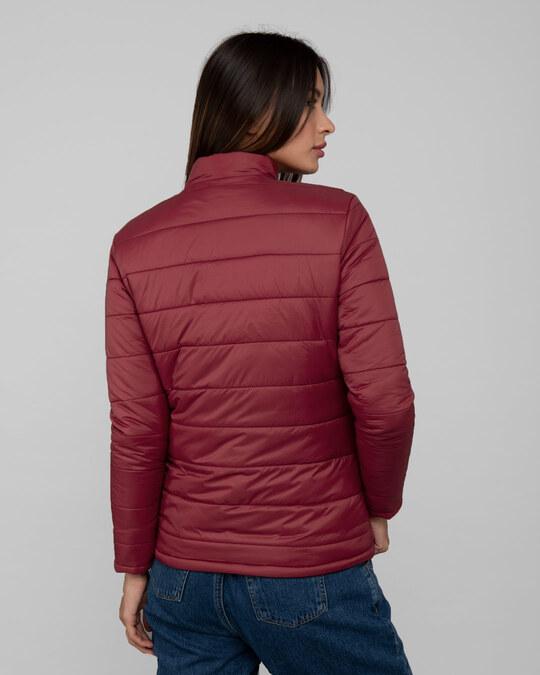 Shop Sangria Red Plain Puffer Jacket-Full