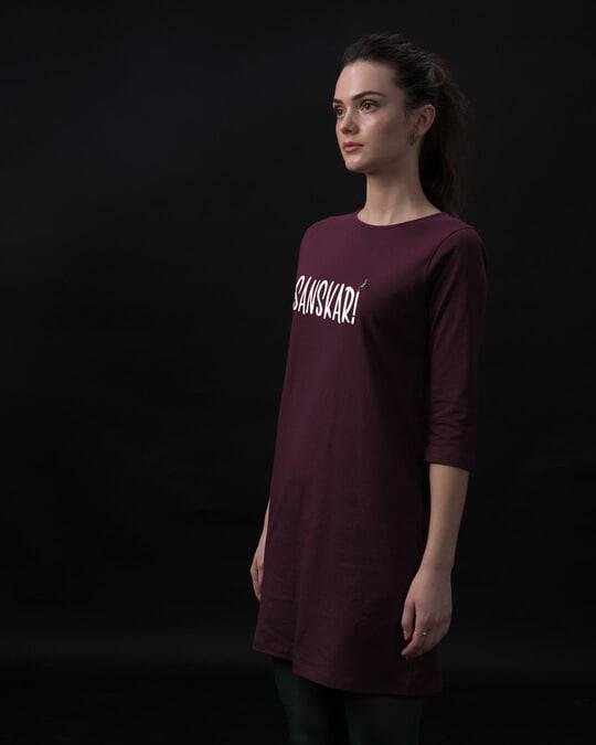 Shop Sanskari Boat Neck 3/4th Sleeve T-Shirt Dress-Back