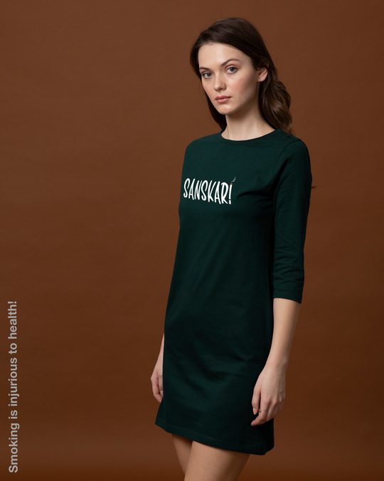 Shop Sanskari Boat Neck 3/4th Sleeve T-Shirt Dress-Back
