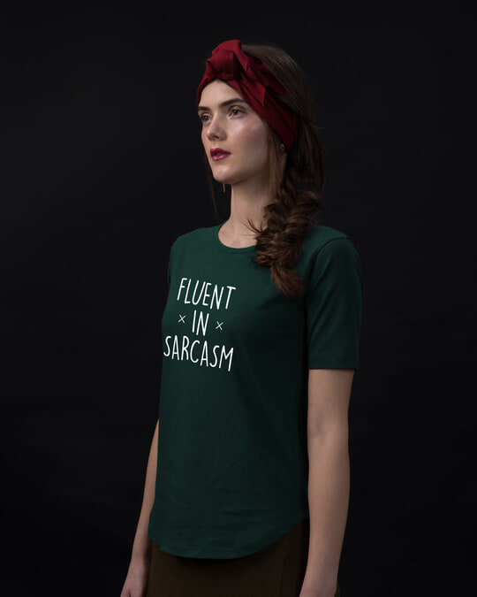 Shop Sarcastic Fluency Basic Round Hem T-Shirt-Back