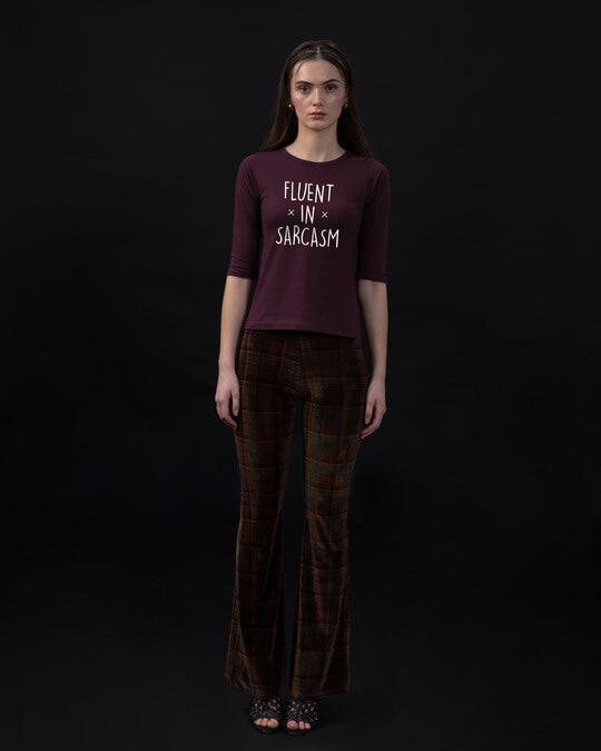 Shop Sarcastic Fluency Round Neck 3/4th Sleeve T-Shirt-Full