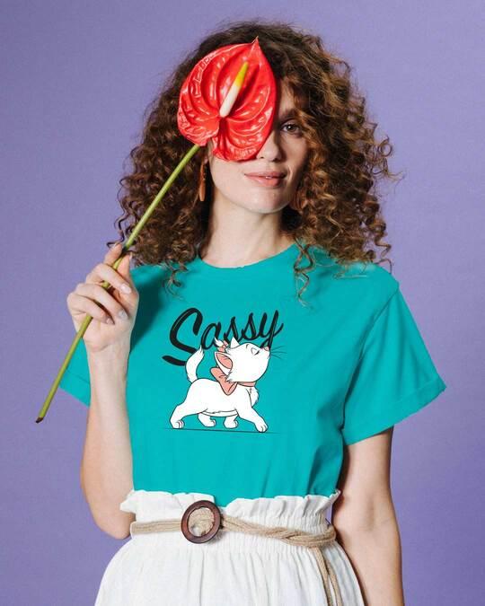 Shop Sassy Cat Boyfriend T-Shirt (DL) Tropical Blue-Front