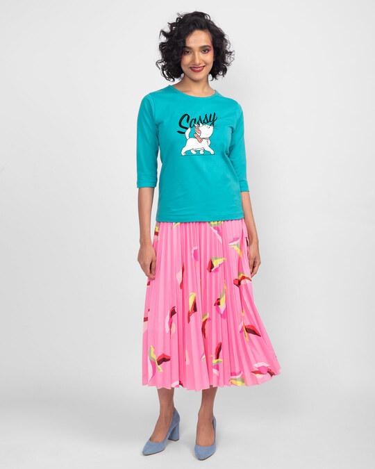 Shop Sassy Cat Round Neck 3/4th Sleeve T-Shirt (DL) Tropical Blue-Design
