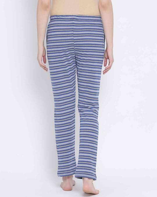 Shop Clovia Sassy Stripes Pyjama in Blue-Design
